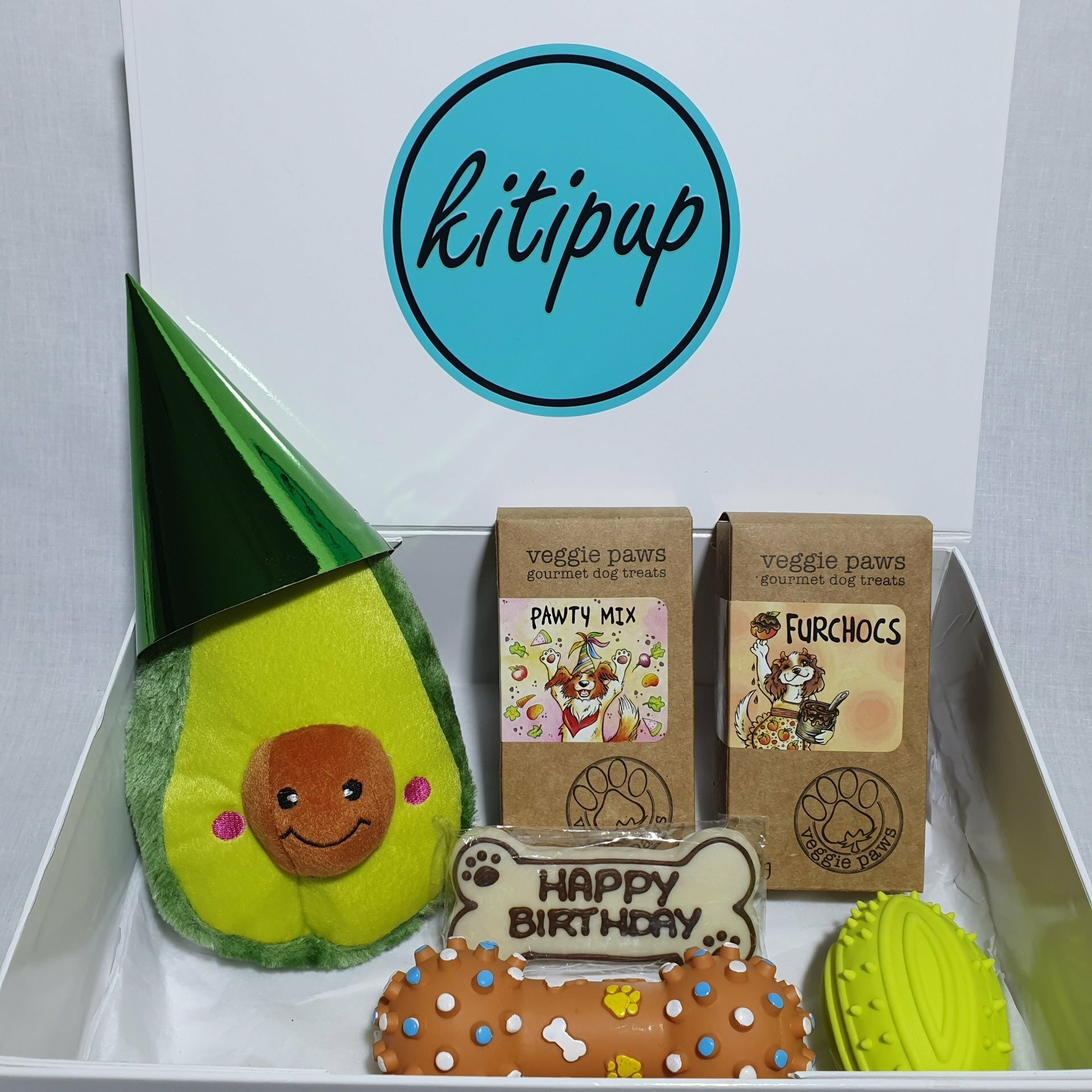 Happy Woof Day Gift Box featuring Alvin the Avocado