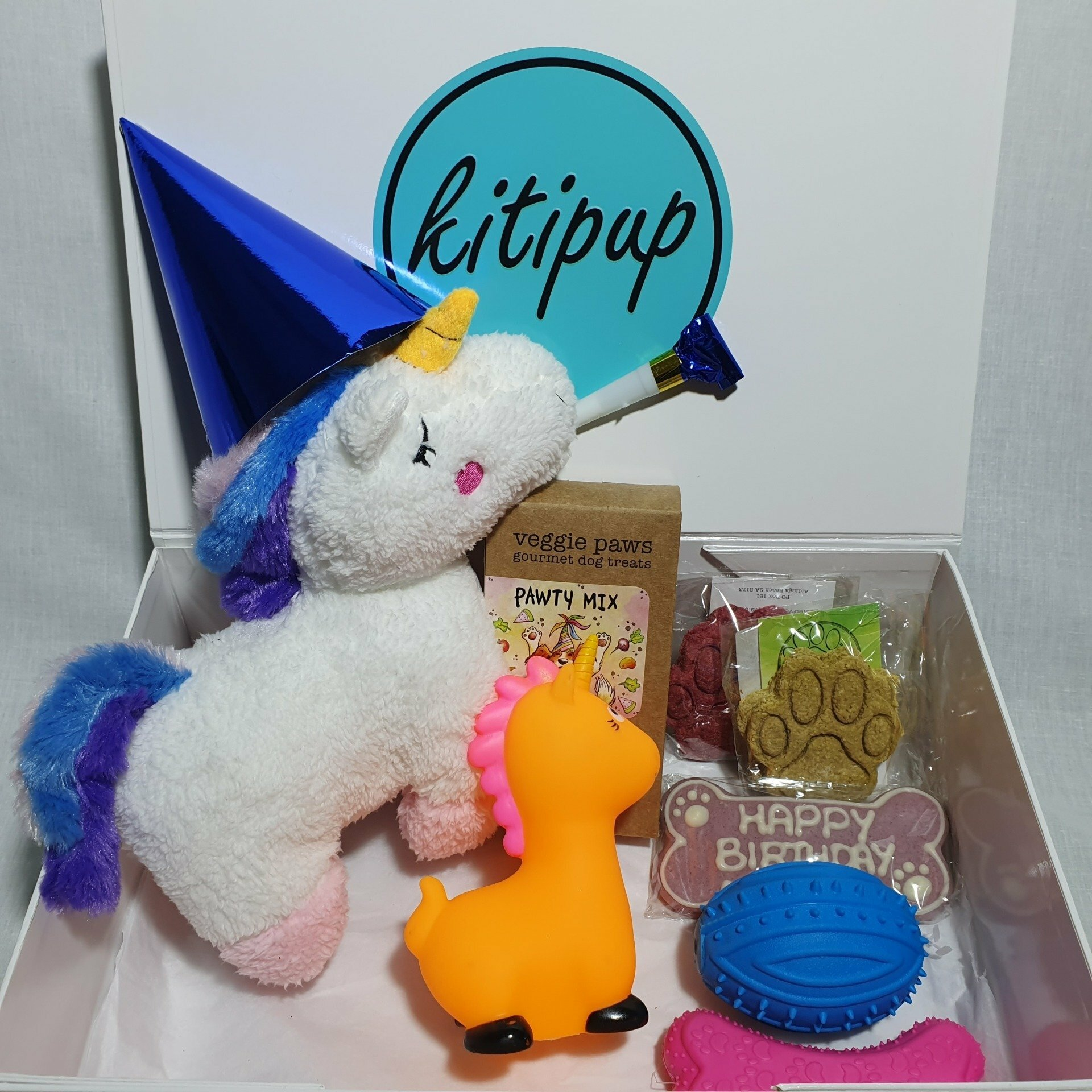 Happy Woof Day Gift Box Featuring Charlotte the Unicorn
